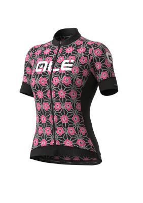 Letný cyklistický dres dámsky Alé PRS Garda Lady čierny/ružový