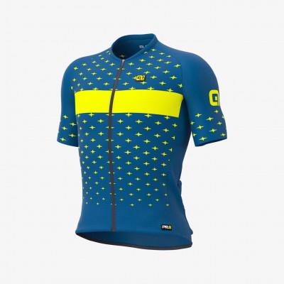 Letný cyklistický dres pánsky Alé PRR Stars modrý/žltý