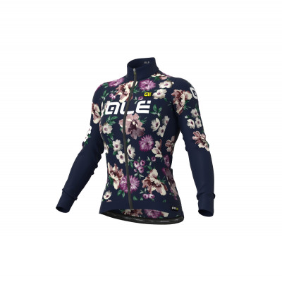Zateplený cyklistický dres dámsky Alé GRAPHICS PRR Fiori modrý