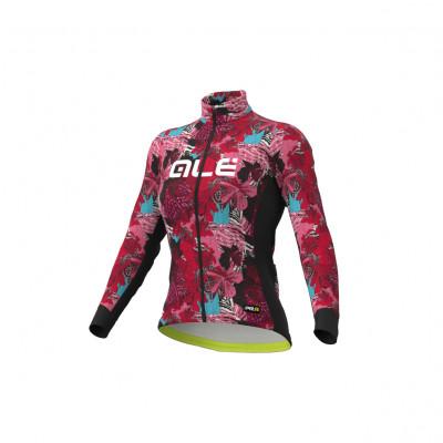 Zateplený cyklistický dres Ale Cycling dámsky PR-R Amazzonia čierny/ružový