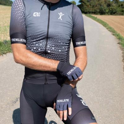 Letné cyklistické rukavice s vnútorným polstrovaním Alé - Trenujeme unisex čierna, antracitová