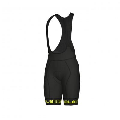 Letné cyklistické nohavice pánske ALÉ GRAPHICS PRR STRADA čierne/žlté