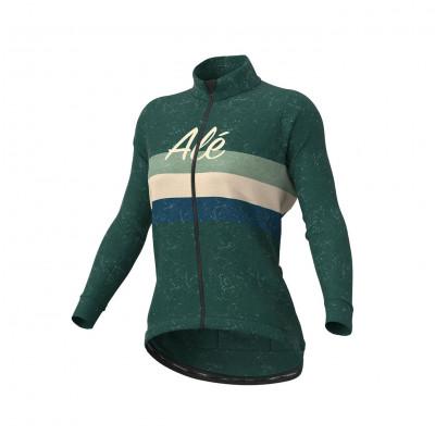 Zimná cyklistická bunda dámska ALÉ CLASSIC VINTAGE LADY JACKET zelená