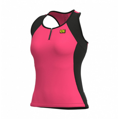 Letný cyklistický dres dámsky Alé SOLID Color Block Lady ružový