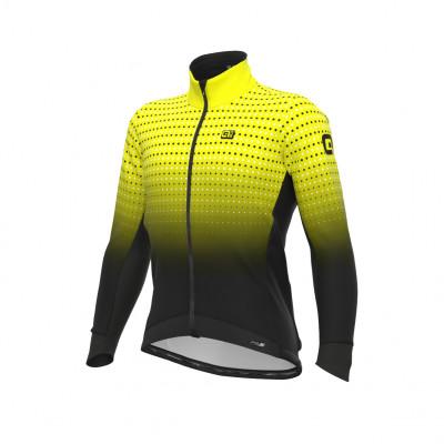 Zimná cyklistická bunda pánska Alé PRS Bullet DWR Stretch čierna/fluo žltá