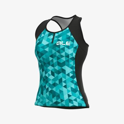 Letný cyklistický dres dámsky Alé SOLID Triangles Lady modrý