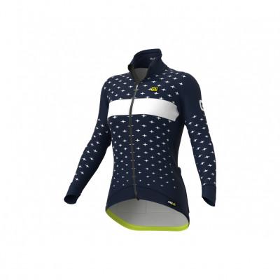 Zimná cyklistická bunda dámska Ale Cycling PR-R Stars modrá/biela