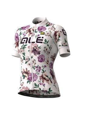 Letný cyklistický dres dámsky Alé GRAPHICS PRR Fiori Lady biely
