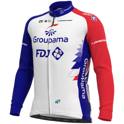 Zimný cyklistický dres pánsky ALÉ GROUPAMA FDJ 2021 biely/červený