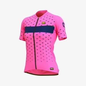 Letný cyklistický dres dámsky ALÉ PRR STARS LADY ružový/modrý