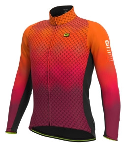 Zateplený cyklistický dres pánsky ALÉ R-EV1 CLIMA PROTECTION 2.0 VELOCITY WIND G+ fluo oranžový