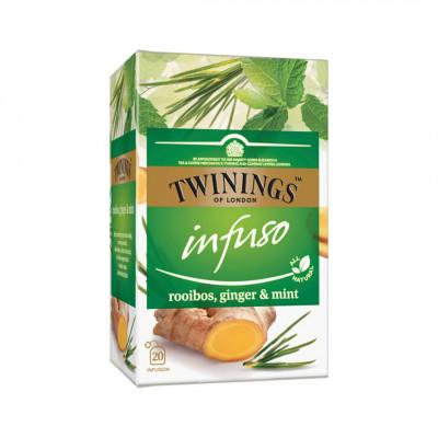 Twinings bylinný čaj Infuso Rooibos, Zázvor & Mäta 20x2 g