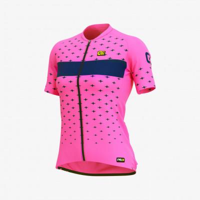 Letný cyklistický dres dámsky Alé GRAPHICS PRR Stars Lady ružový/modrý