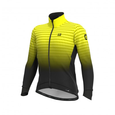 Zimná cyklistická bunda pánska ALÉ PRS BULLET DWR STRETCH JACKET čierna/fluo žltá