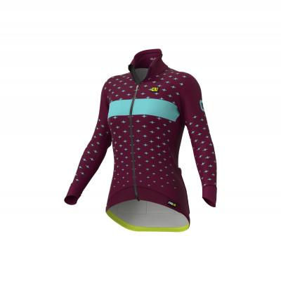 Zimná cyklistická bunda dámska Alé Cycling PR-R Stars bordová/tyrkysová