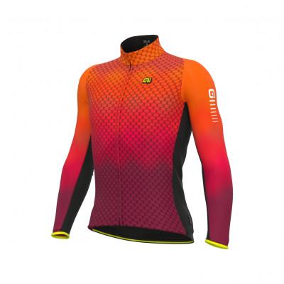 Zateplený cyklistický dres pánsky Alé R-EV1 Clima Protection 2.0 Velocity Wind G+ oranžový