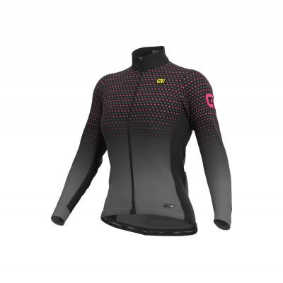 Zateplený zimný cyklistický dres dámsky Alé PRS Bullet šedý/ružový