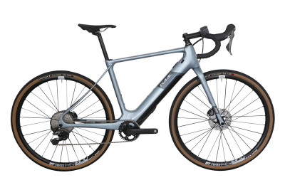 Hybridný elektrický gravel bicykel Isaac Saros X-plore Frozen Blue
