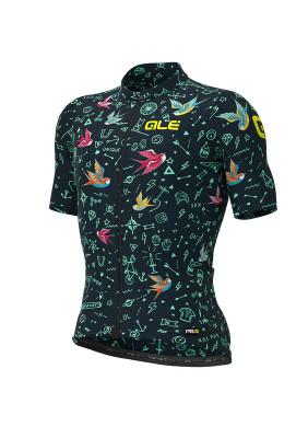Letný cyklistický dres pánsky Alé GRAPHICS PRR Versilia čierny/modrý