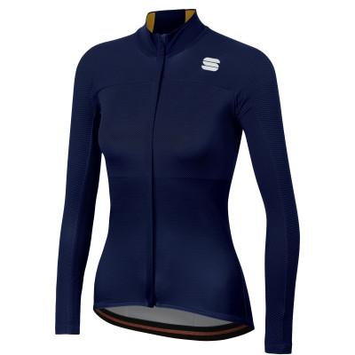 Zateplený cyklistický dres dámsky Sportful Bodyfit Pro Thermal modrý/zlatý