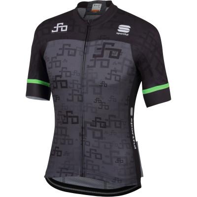 Cyklistický dres pánsky Sportful Sagan Logo Bodyfit Team tmavosivý