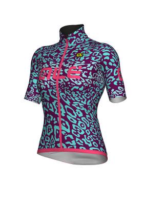 Cyklistický dres dámsky ALÉ KLIMATIK K-ATMO ESPLOSIONE tyrkysový/ružový